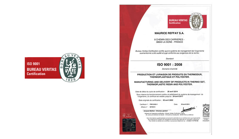 Processus qualité de Reffay sas, document ISO 9001