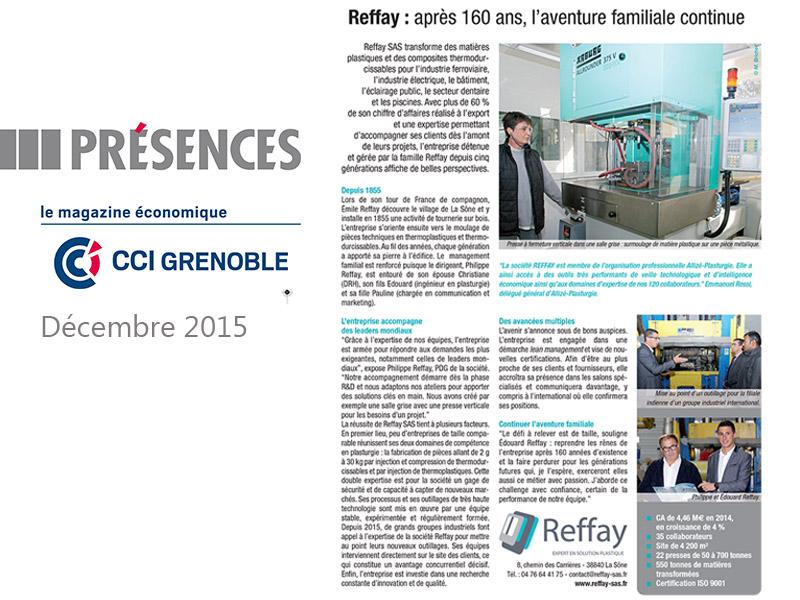 Articles de Reffay dans le magazine Présences de décembre 2015